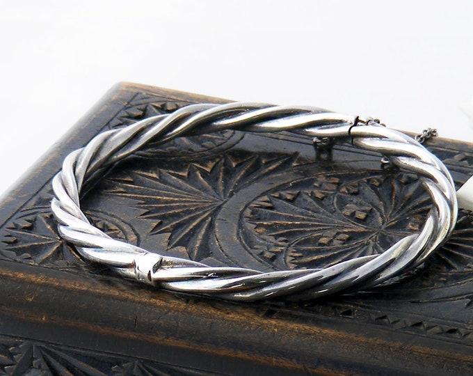 Vintage Sterling Silver Bracelet, Hinged Bangle, Rope Twist Design | Victorian Revival | 1970s English Hallmarks - 7 Inch Wrist