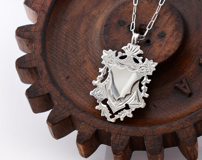 1904 Antique Sterling Silver Medal   Edwardian Crest Medallion Necklace   Hallmarked Silver - 20 Inch Chain Included