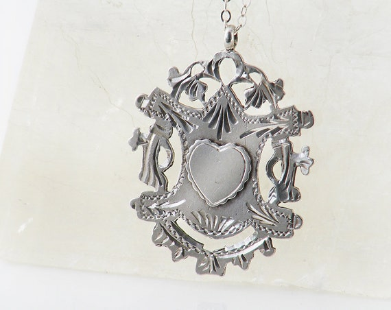 1913 Antique Medal | Edwardian Crest Medallion with Heart | Ornate Cutwork Hallmarked English Silver - 20 Inch Sterling Chain