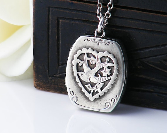 Antique Locket | Swallow Bird & Heart | Sterling Silver Edwardian Locket | 1913 English Hallmark Wedding Locket Necklace - 17 Inch Chain