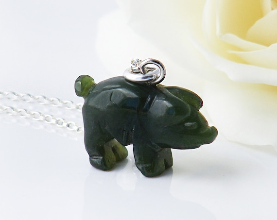 Antique Nephrite Jade Pendant | Victorian Lucky Pig Fob Pendant | Carved Green Jade | 2019 Year of the Pig - 20 Inch Sterling Chain