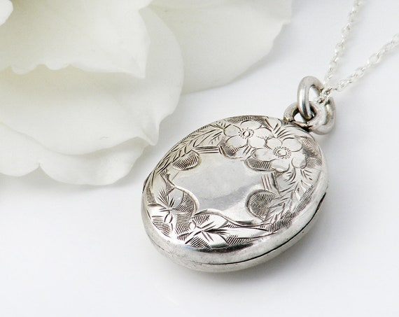 Edwardian Locket | Small Antique Sterling Silver Locket Necklace | Forget-Me-Nots | 1904 Hallmark - 20 Inch Sterling Silver Chain