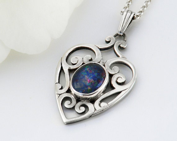 Vintage Black Opal Pendant | Sterling Silver Heart Pendant | Opal Cabochon | 925 Silver - 20 inch Chain