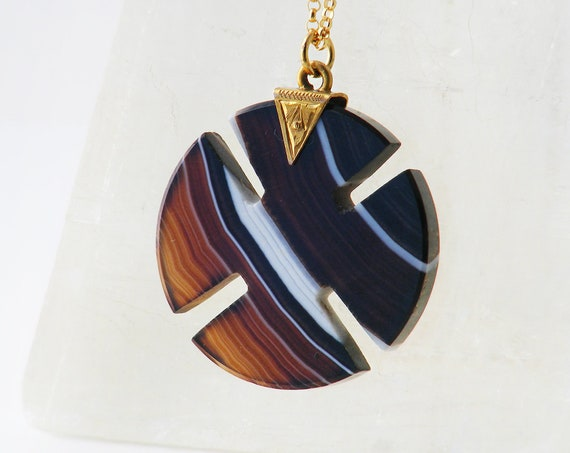 Victorian Banded Agate Pendant | 9ct Gold Bail Agate Equal Cross Necklace | Striped Gemstone Antique Pendant - 20 Inch Chain