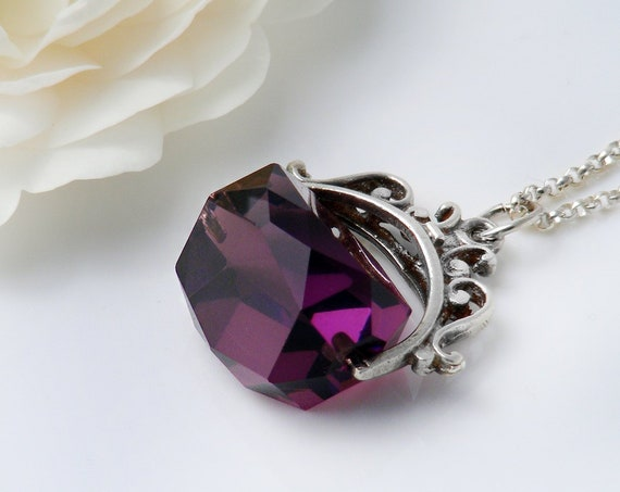 Vintage Fob Spinner | Sterling Silver & Faceted Amethyst Glass Pendant | Purple Fob Spinner Necklace - 20 Inch Sterling Chain