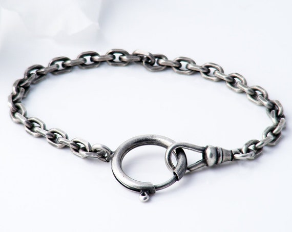 Antique Silver Fob Chain Bracelet | Large Victorian Spring Ring & Swivel Dog Clip | Thick Faceted Links - 7 Inches Long, Fits 6.5 Inch Wrist