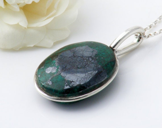 Vintage Turquoise and Pyrite Pendant | Sterling Silver | Emerald Green Natural Turquoise Gemstone Pendant - 20 Inch Chain