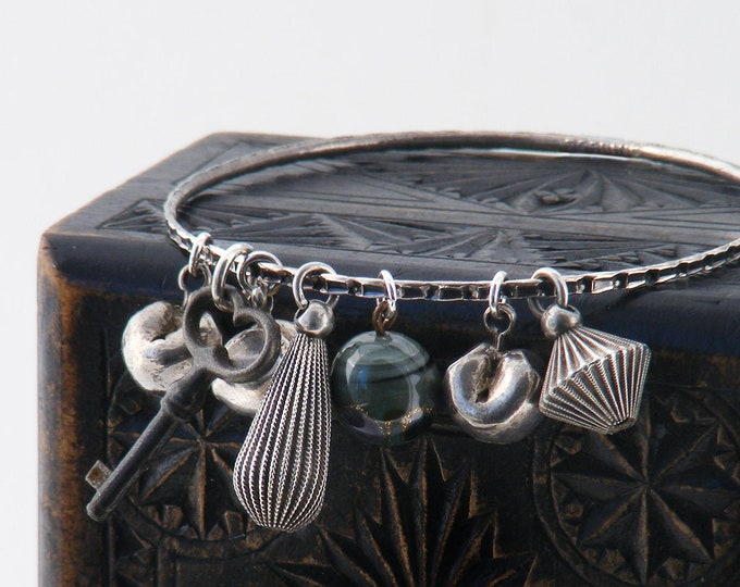 Sterling Silver Bangle | Victorian Sterling Charms & Tiny Antique Key | Thai Silver Currency Money Drops | Charm Bracelet
