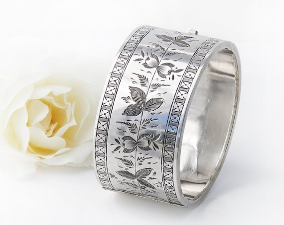 Victorian Silver Bracelet | Antique Cuff with Leaf & Flower Pattern | Silver Plated | Wide Hinged Cuff Bracelet - Small Size Wrist