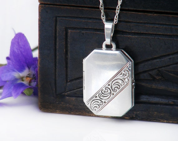 Vintage Sterling Silver Locket Necklace | Small Engraved 925 Silver Rectangle, Book Locket - 18 Inch Chain