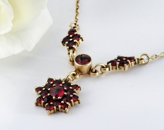 Vintage Garnet Necklace | Bohemian Garnet Drop Pendant | Crimson Red Pyrope Garnets | Gold Over 925 Silver - 16.75 Inch Chain