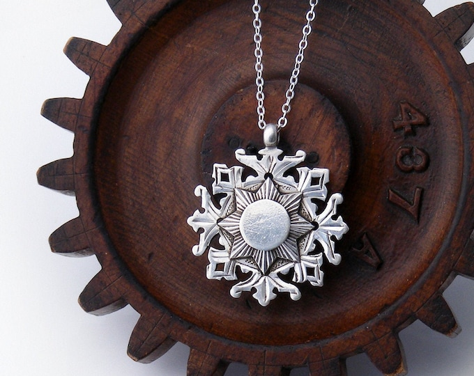 Sterling Silver Antique Medal | Victorian Snowflake Medallion | 1899 English Hallmark - 20 Inch 925 Silver Necklace Chain