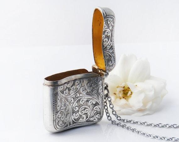 1919 Antique Vesta Case | Sterling Silver Edwardian Engraved Match Safe | Hallmarked Vesta Case Locket - 34 Inch Chain