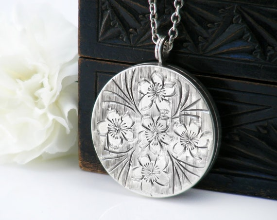 English Sterling Silver Vintage Locket | 1973 Hallmarked Silver | Large Round Locket | Forget-Me-Not Flowers - 22 Inch Sterling Chain