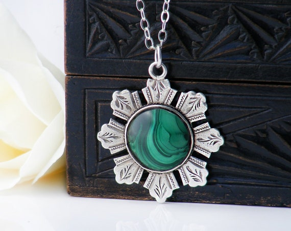1899 Victorian Fob Pendant with Malachite Cabochon | English Hallmarked Sterling Silver Pocket Watch Fob Medal - 20 Inch Chain
