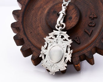 1915 Antique Sterling Silver Shield Medal | Large Edwardian Fob Watch Medallion | English Hallmarked - 30 Inch Long Chain, Swivel Fob Clip