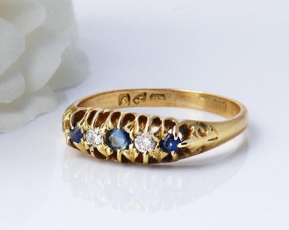 Antique Sapphire & Diamond Ring | 1907 English 18ct Gold Engagement Ring - US Ring Size 7 1/4 or UK Ring Size O 1/2
