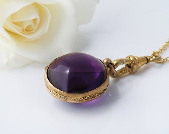 Georgian, Early Victorian Amethyst Glass Locket | Antique Purple Glass & Gold Fill |  20 Inch Necklace Chain with Antique Swivel Clip