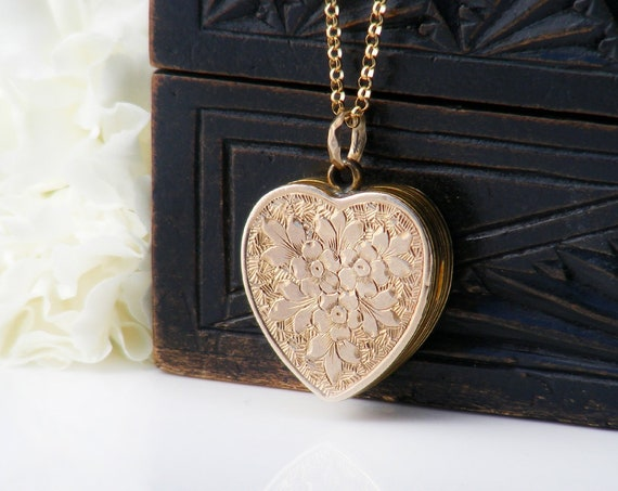 Antique Heart Locket | Victorian Gold Back & Front Photo Locket Necklace with Forget-Me-Not Flowers - 20 Inch Chain