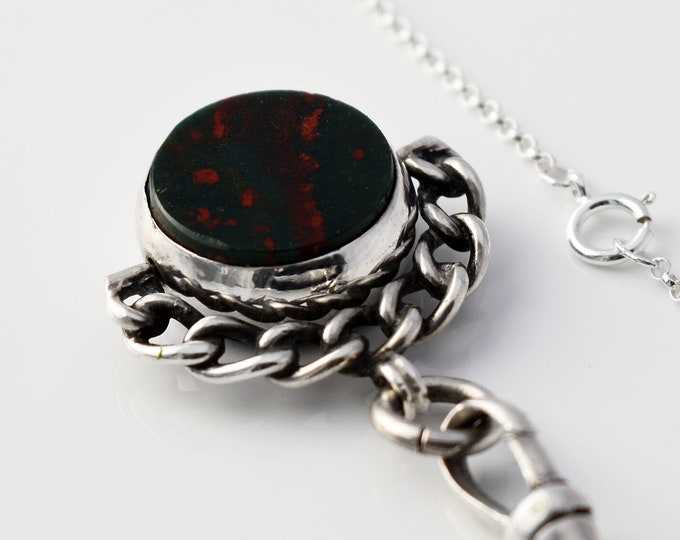 Antique Fob Spinner | Victorian Sterling Silver, Bloodstone & Red Agate Fob Spinner - 20 Inch Chain, 925 Swivel Clip