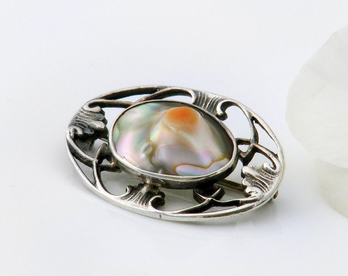 Antique Abalone Brooch | Edwardian Blister Pearl Pin | Oval Art Nouveau Sterling Silver Lace Pin - Raised Abalone Blister