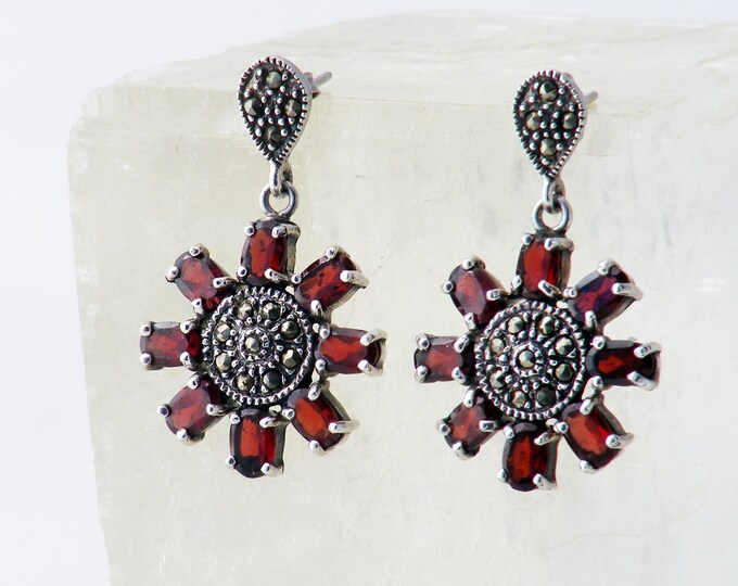 Vintage Garnet Earrings | Bohemian Garnet & Marcasite Starburst Stud Earrings | 925 Sterling Silver - Sterling Butterfly Backs