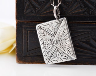 Edwardian Sterling Silver Stamp Envelope | Antique Stamp Case Locket | Chatelaine Case - 20 inch Cable Chain