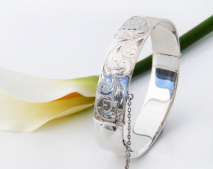 Vintage Sterling Silver Engraved Bracelet | Hinged 925 Silver Bangle | Acanthus Scrolls - 7 Inch