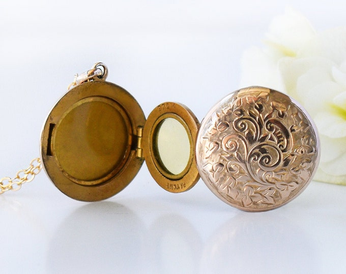 Gold Antique 4 Photo Locket | Edwardian Locket | 9ct Gold Back & Front  Locket Necklace - 20 Inch Chain