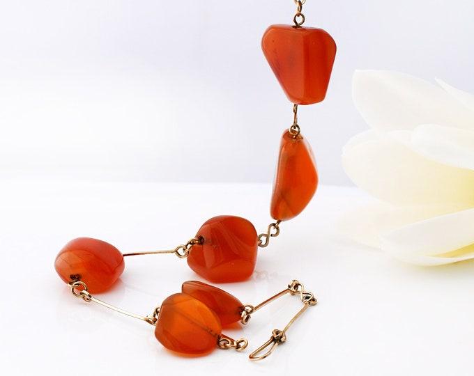 Vintage Carnelian Necklace | Art Deco Natural Form Polished Orange Gemstones | Gold Filled Stick Chain - 18 Inches