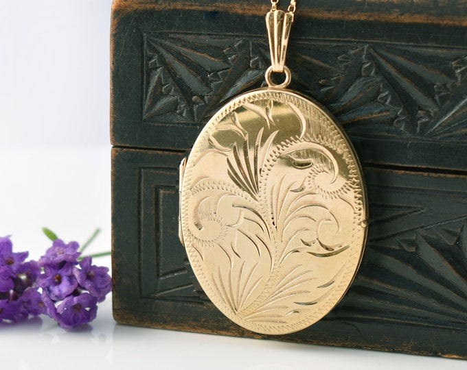 Vintage Locket, Large Gold Oval | Rolled Gold Engraved Locket | 1970s English Jewelry - 20 Inch Chain