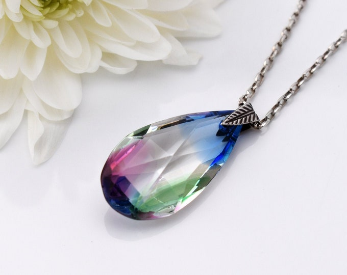 Antique Iris Glass Pendant | Art Deco Rainbow Pear & Sterling Silver Necklace - 18 inch Sterling Silver Chain