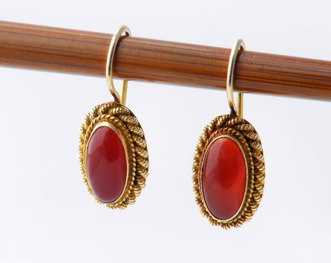 Vintage Carnelian Earrings | Victorian Style Carnelian Ovals set in Gilded Silver - Latch Back Ear Hooks