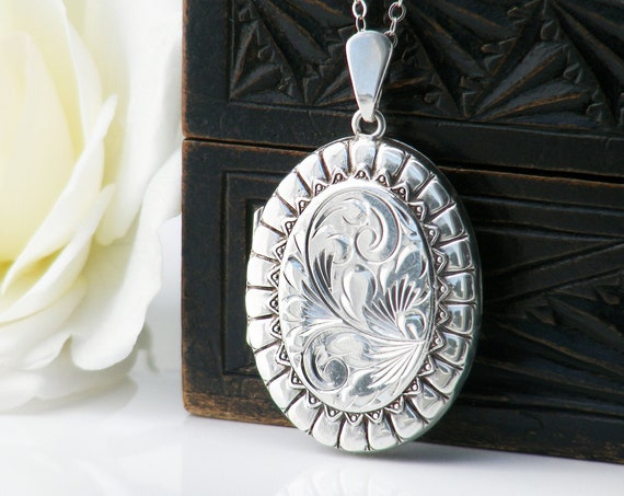 Sterling Silver Vintage Locket Necklace |  Ornate Engraved Oval Locket | 1979 English Hallmarked Silver - 20 Inch Long Sterling Chain