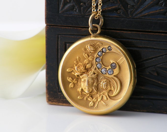 Victorian Antique Locket | Matte Gold Filled Locket with Crystals | Wedding Locket | Art Nouveau Design - 20 Inch Chain Included