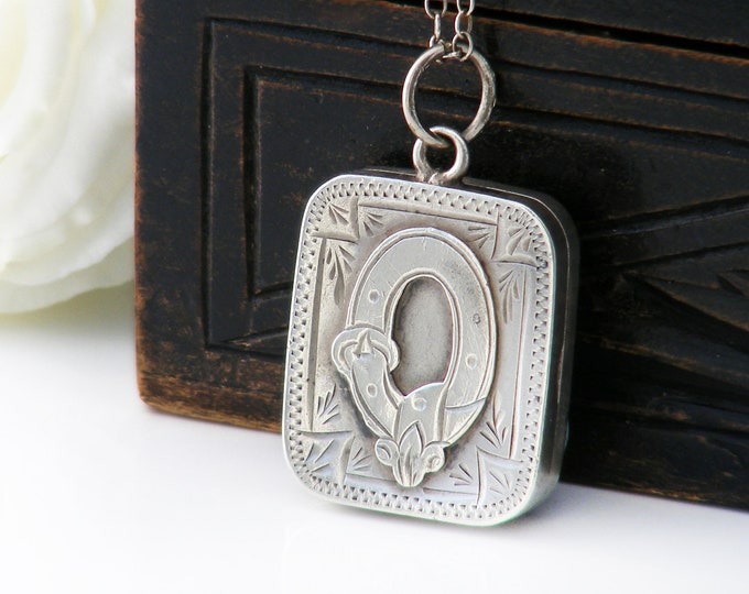 Antique Locket | Buckle & Garter | Sterling Silver Edwardian, Victorian Book Locket | 1901 English Wedding Locket Necklace - 18.5 Inch Chain