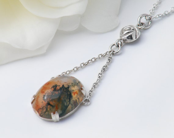 Antique Agate Necklace | Scottish Moss Agate Gemstone & Sterling Silver | Glasgow Rose | Edwardian Lavaliere Necklace - 17 Inch Chain