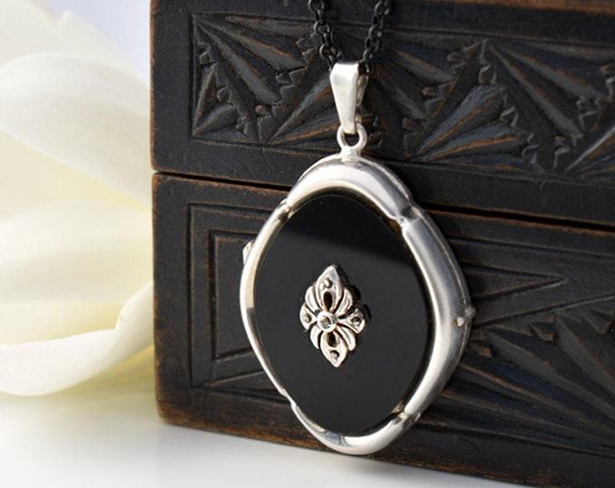 Vintage Sterling Silver, Onyx & Marcasite Locket | 1979 Black Stone Locket Necklace | 925 Silver- 20 Inch Black Chain