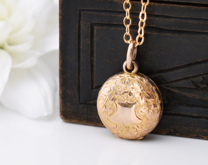 Gold Antique Locket | Small Rolled Gold Victorian Locket | Hand Chased Forget-me-not Flowers - 20 Inch Chain