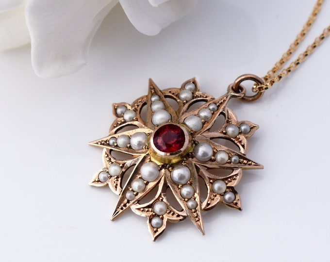 Victorian 9ct Gold Starburst Pendant | Garnet & Seed Pearls | Antique Wedding Pendant - 20 Inch Chain
