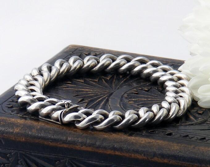 Vintage Silver Chain Bracelet | Thick 800 European Silver Curb Chain | Chunky Bracelet - 7.25 Inch Bracelet fits 6.75 Inch Wrist
