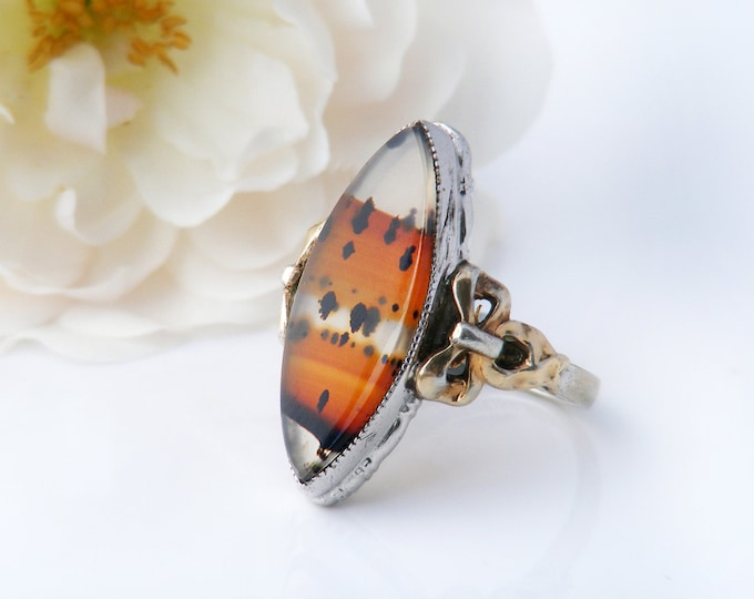 Vintage Montana Agate Ring | Marquise Cut Cabochon | Sterling Silver & 10K Gold Bows - Small Ring - US Ring Size 5.5 | UK Ring Size K 1/4