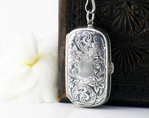 Victorian Sterling Silver Chatelaine Case Locket | Antique Repoussé Silver Lilies & Gold Interior - 30 Inch Chain with Fob Clip