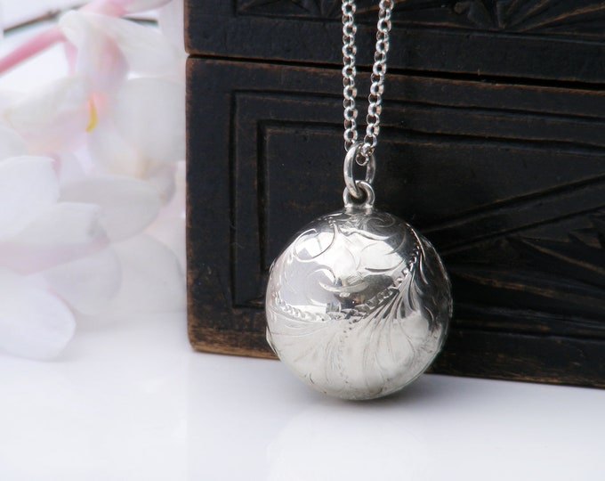 Vintage Ball Photo Locket   Sterling Silver Engraved Orb Locket   1978 Hallmarked Sterling Silver Sphere - 20 inch Sterling Chain