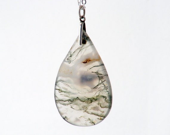 Vintage Moss Agate Pendant | Sterling Silver & Pear Cut Gemstone Pendant | 1920s Moss Agate Pendant - 30 inch Long Sterling Silver Chain