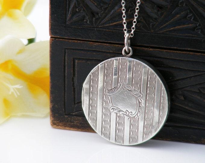 Antique Locket | Edwardian Sterling Silver Locket | 1910 Hallmarked English Striped Silver Photo Locket - 20 inch Sterling Chain