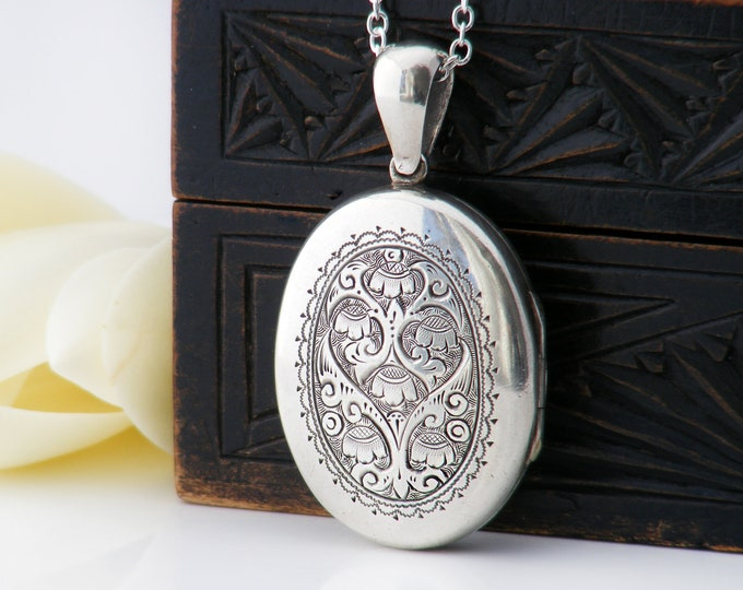 Victorian Locket | Sterling Silver Antique Locket Necklace | Hand Chased Floral, Forget-Me-Not Flowers - 30 Inch Sterling Silver Chain