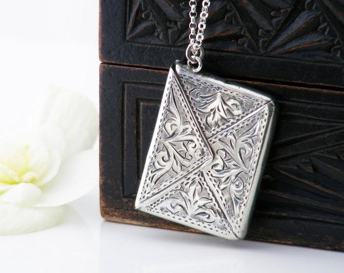 1903 Edwardian Sterling Silver Stamp Envelope   925 Silver Stamp Case Locket   Adie & Lovekin Ltd   Hallmarked Silver - 20 inch Chain
