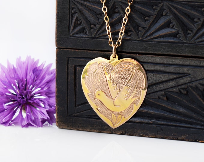 Antique 9ct Gold Heart Pendant | Large Edwardian Gold Heart with Peace Dove - 20 Inch Chain Included