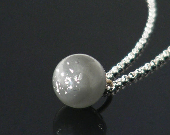 Victorian Drop Pendant | Unique Soft Grey, Silver Foil Sparkly Antique Glass Charm String Ball - 20 Inch Chain